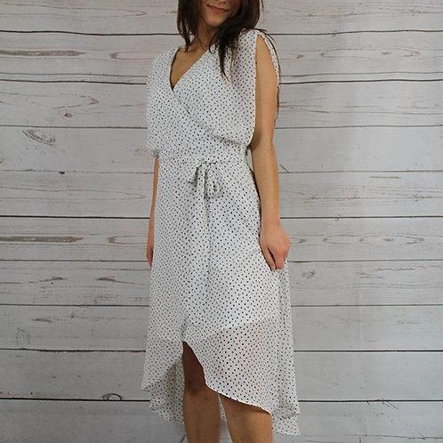 White Black Dot Flow Sleeve Over-Wrap Dress