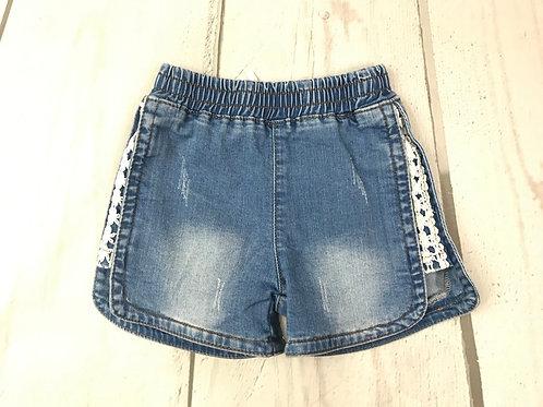 Denim Shorts w/ Lace Edging