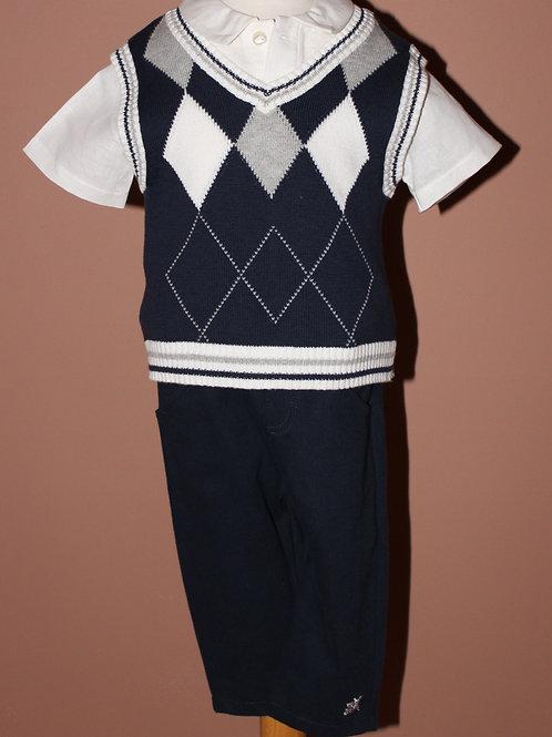 3pc Navy Diamond Knit Set