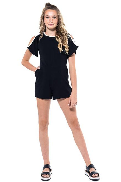 Black Romper w/Back Zipper Cutout Shoulder