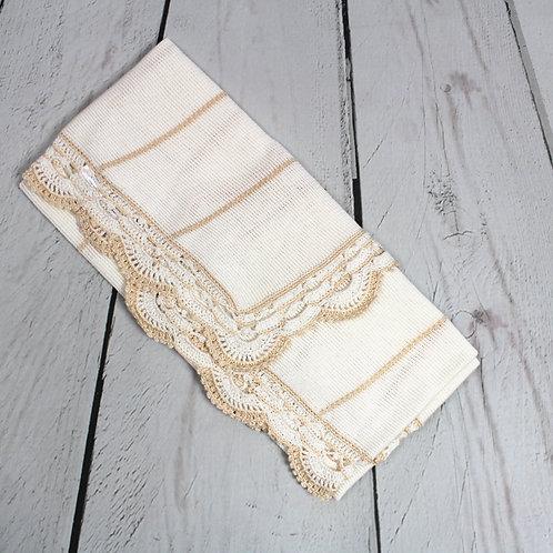 Knit beige w dark beige trim
