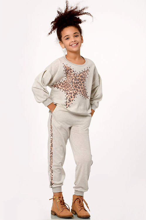Grey Leopard Star Sweatsuit
