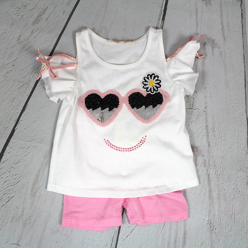 2pc Cold Shoulder Top w/ Happy Face & Shorts