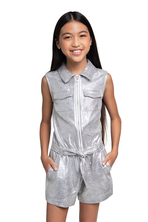 Silver Faux Leather Romer