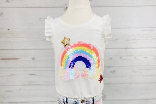 White Multi Ruffle Top w/ Sequin Rainbow Patch