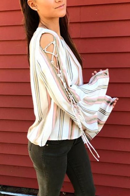 White Blush Bell Sleeve Top