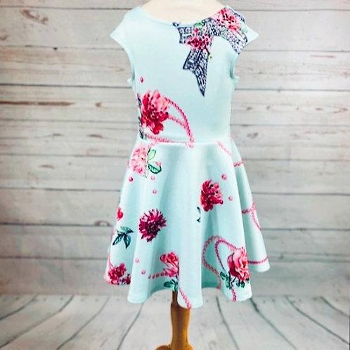 Aqua Jeweled Bow Skater Dress