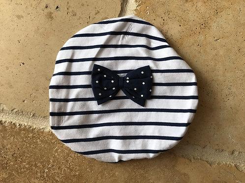 Stripe Beret w/ Bow Hat