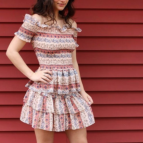2pc Coral Smock Top w/ Skirt