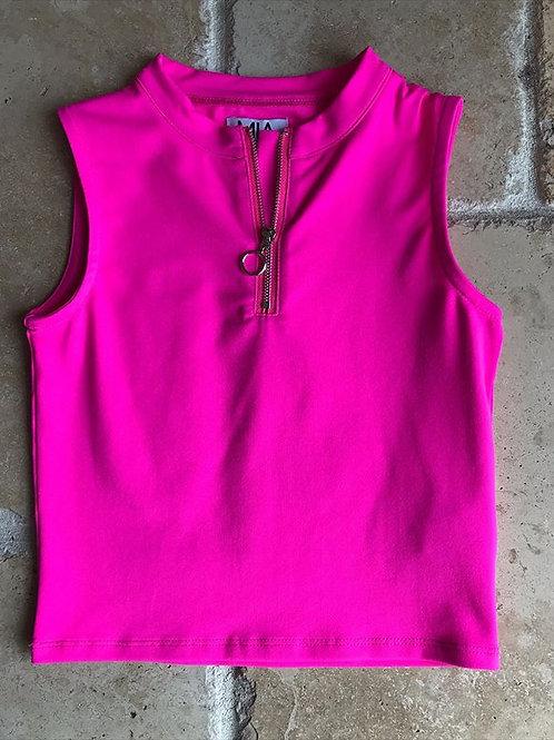Hot Pink Tank w/ Front Zipper Top