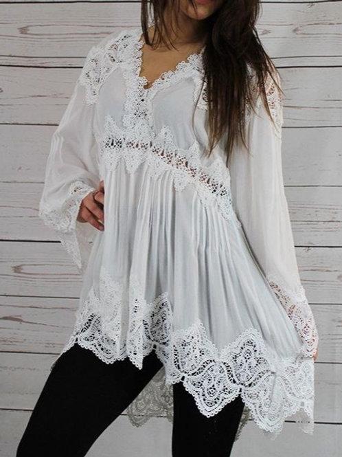 Ivory Bell Sleeve Tunic Top w/ Crochet Detail