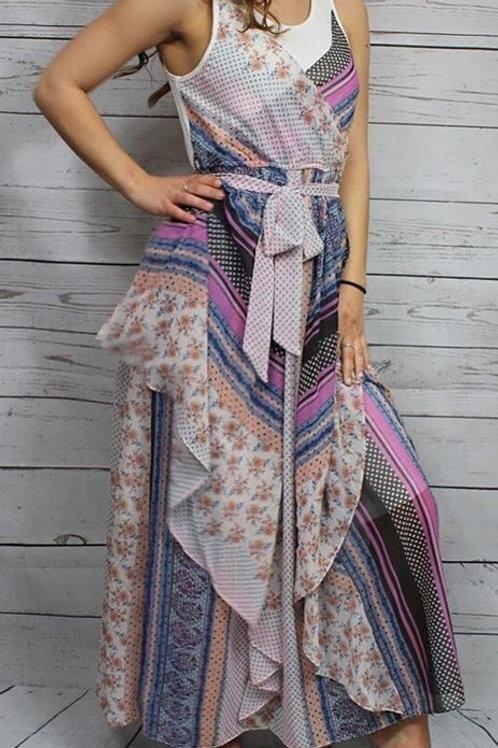 White Multi Maxi Dress w/ Cascade Skirt