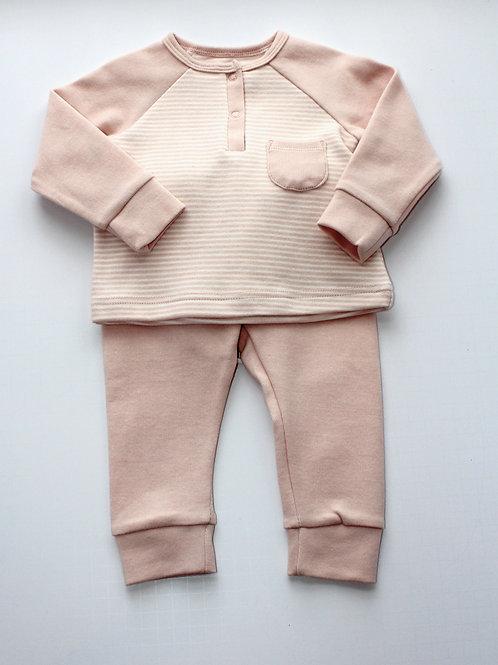 2pc Pink Stripe Pant Set