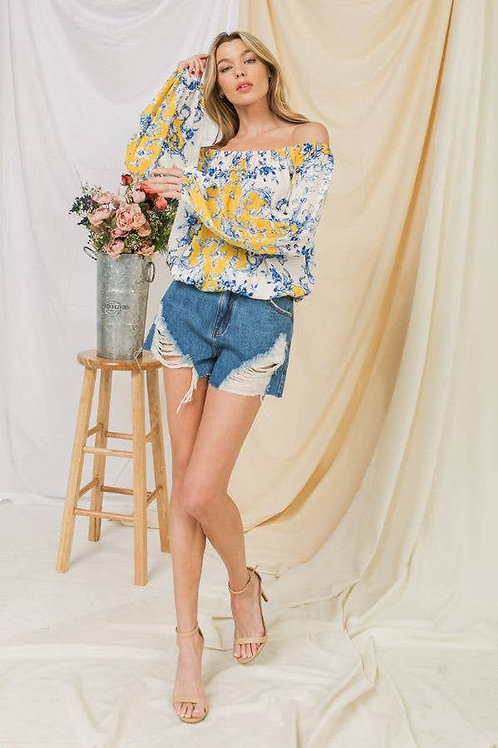 Blue and Yellow Woven Top