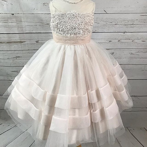 Beaded Corded Lace / Tulle / Organza / Satin Dress