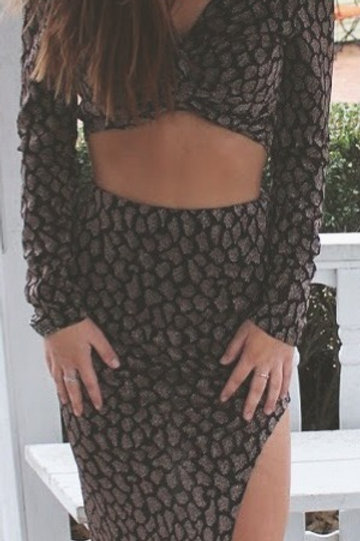 2pc Black/Gold Skirt and Top