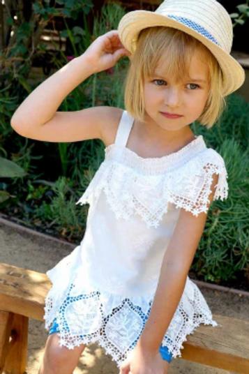White One Shoulder Eyelet Ruffle Dress