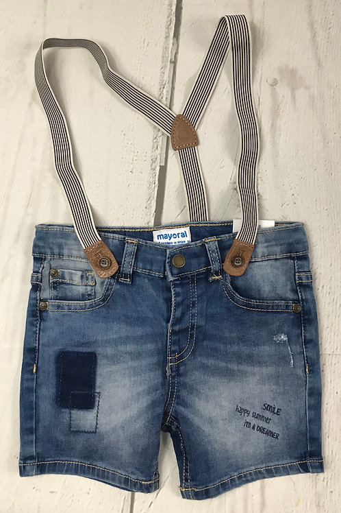 Denim Bermuda Short w/ Suspenders
