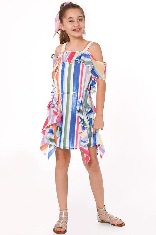 Multi Stripe Ruffled Chiffon Dress