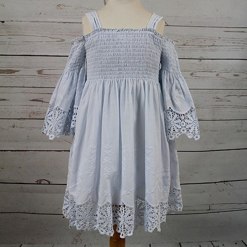 Light Blue Smock w/ Lace Cuffing and Edging