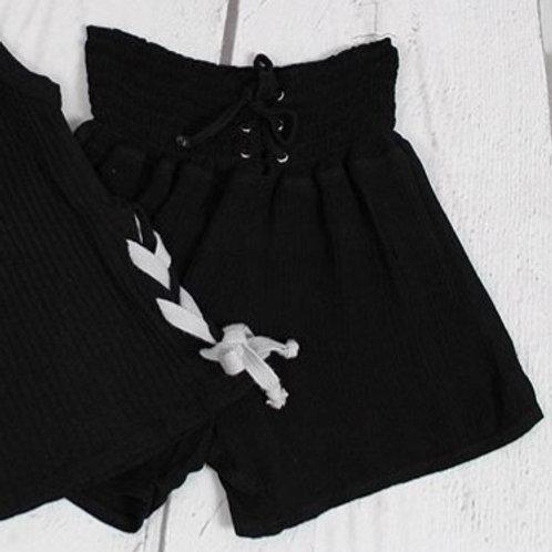 Black Tie Front Gauze Short