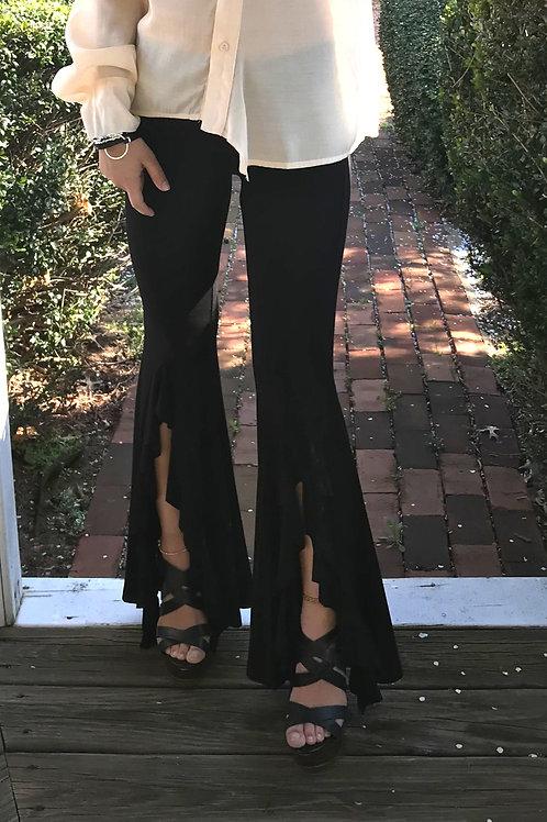 Black Front Slit Flair Pant