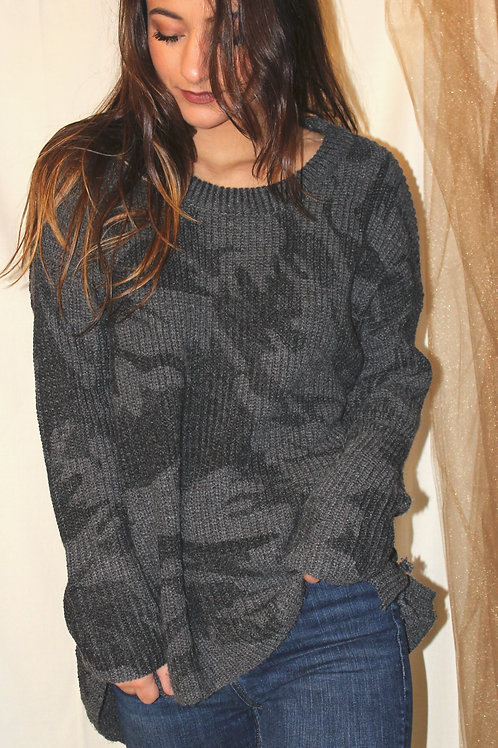Grey Camo Twisted Lace Up Sweater