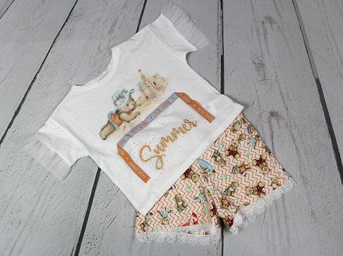 2pc Bear Shirt& Lace Short