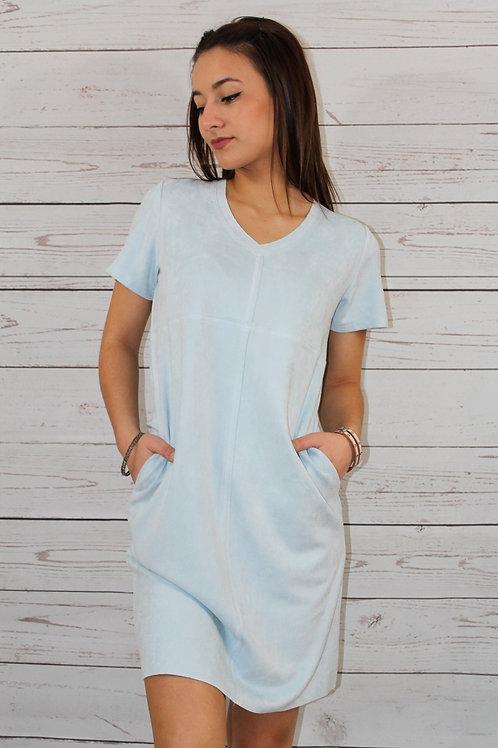 Faux Suede Sky Blue Dress