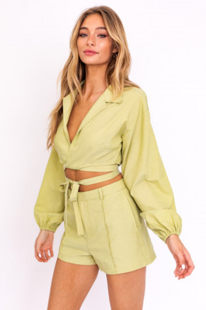 Light Green Strap Top and Pant Set
