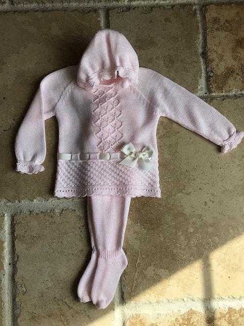 3pc Pink/Ivory Pant w/ Hat Set