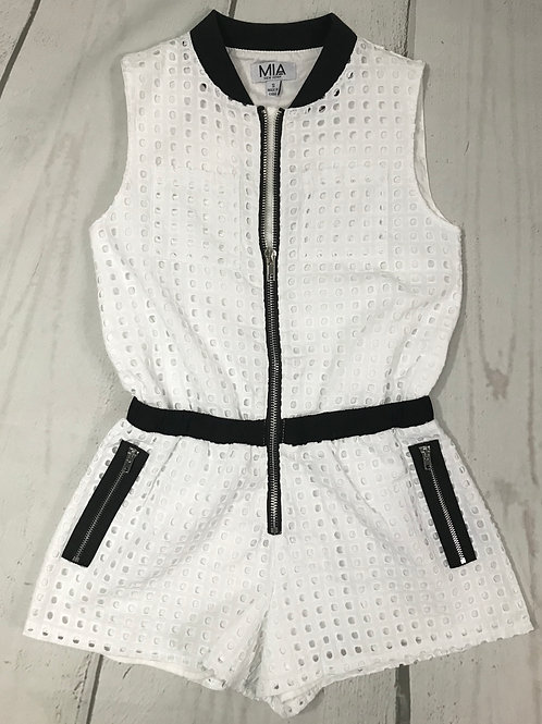 White Cargo Romper w/ Black Detail