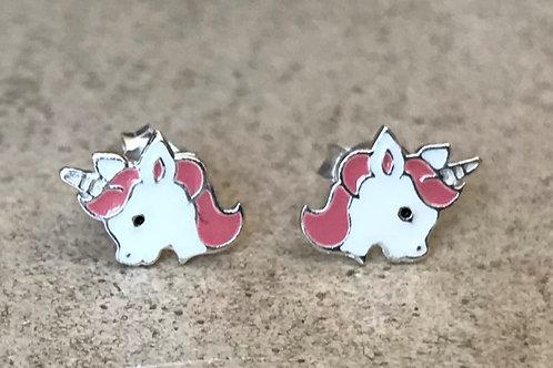 Unicorn Head Studs Pink/White