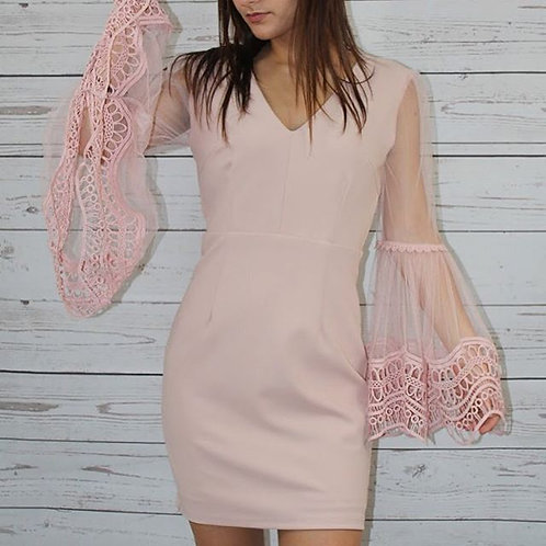 Blush Bell Laced Sleeve Dress