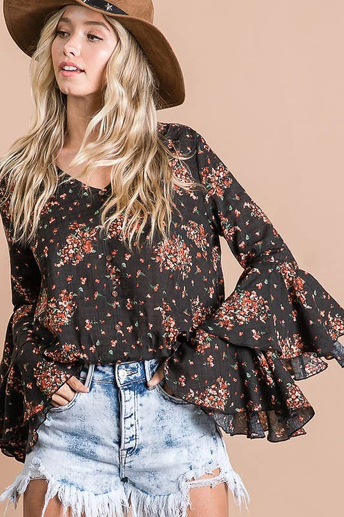 Floral Blouse w Bell Sleeve