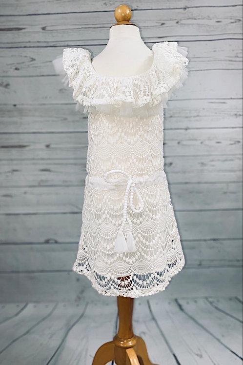 White Lace Ruffle Off Shoulder Dress