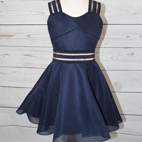 Navy Knit Racer Dress