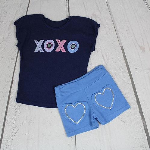 2pc XOXO Top w/ Heart Shorts