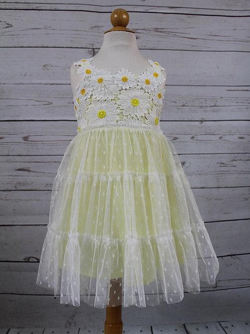 Yellow Polka Dot Dress w/ Flower Detail