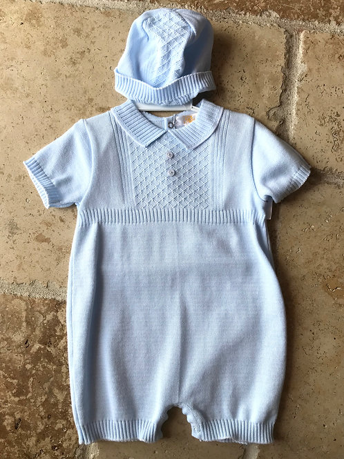 2pc Blue Romper w/ Hat