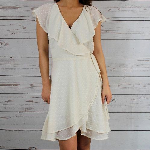 Cream Wrap Dress w/ Ruffle Detail