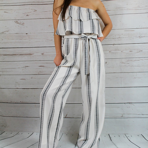 Creme/Black Sripe Tube Top Jumpsuit