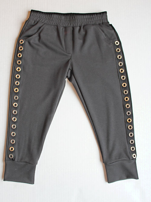 Black Grommet Cropped Pant