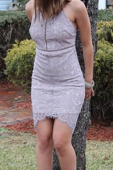 Foggy Grey Halter Lace Dress