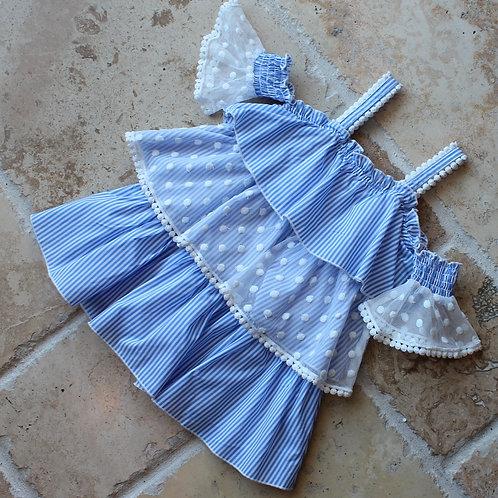 Blue Multi 3 Tier Dress w/ Smock Sleeve Detail