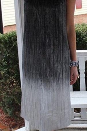Black/Silver Shimmer Pleats Dress