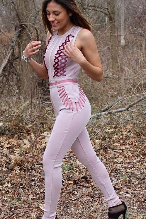 Dusty Wineberry Lattice Strap Jumpsuit