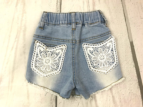 Denim Short w/ Lace Back Pockets