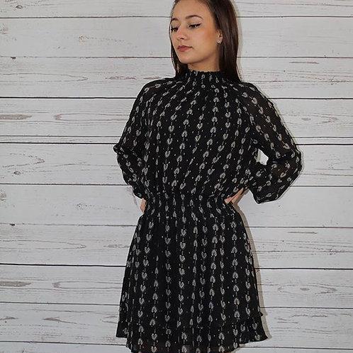 Black Smock Waist Dress