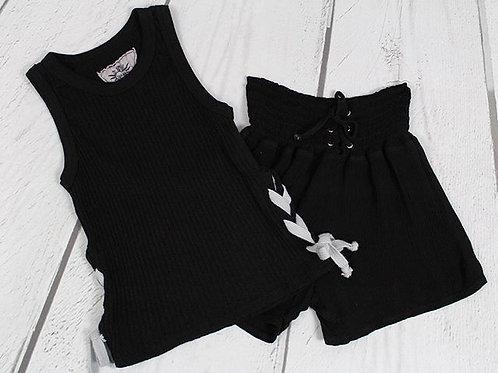 Black Rib Top w/ Side Tie